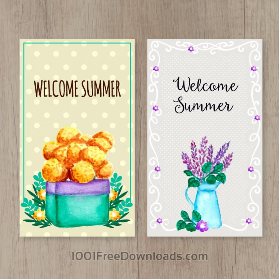 Free Summer cards on wooden background