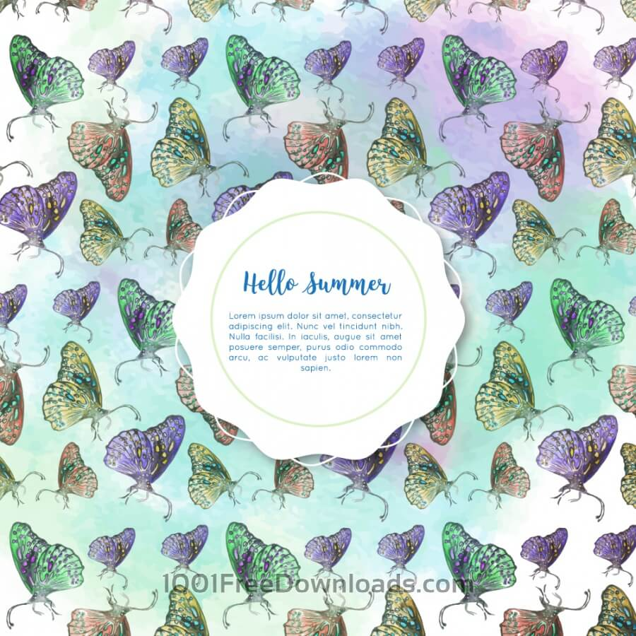 Free Vectors: Watercolor butterflies with badge | Backgrounds