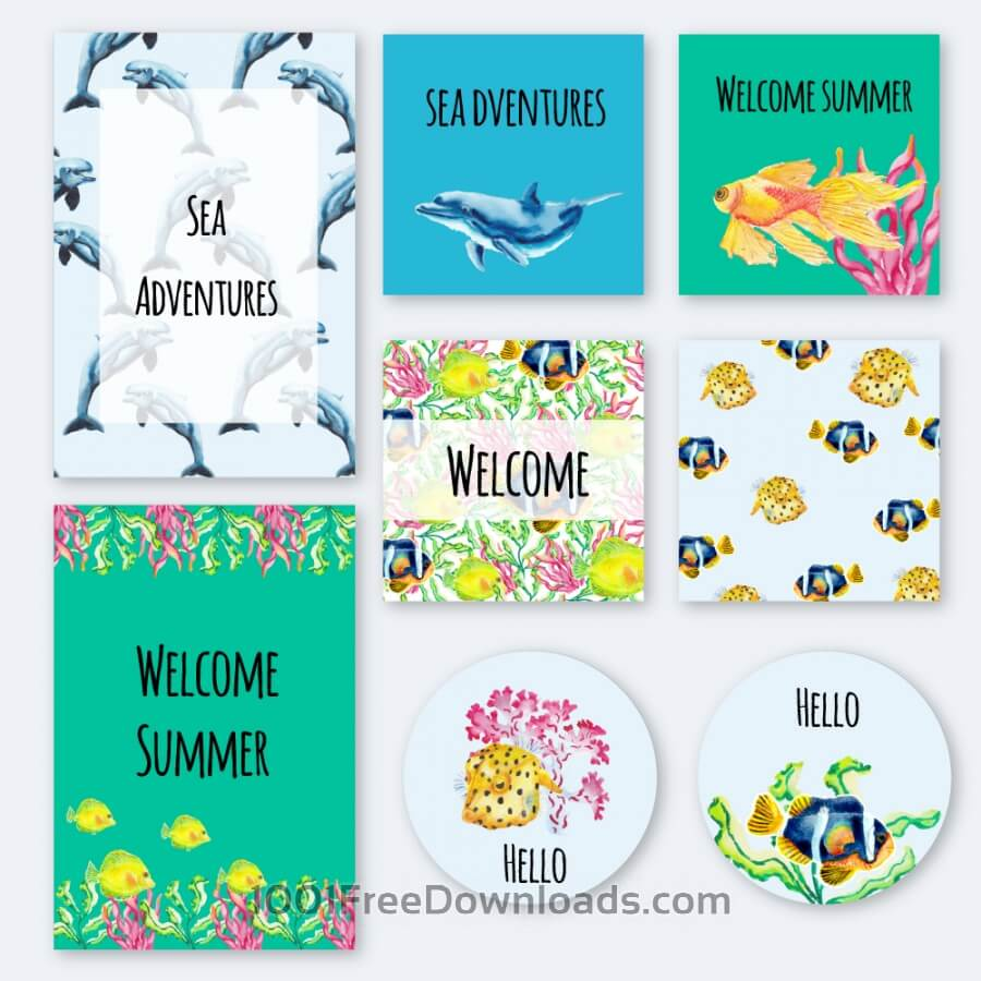 Free Nautical underwater summer cards