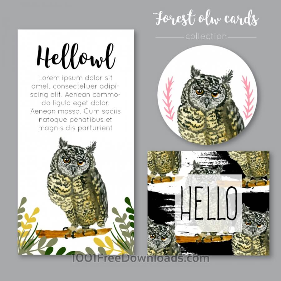 Free Watercolor owl collection or cards