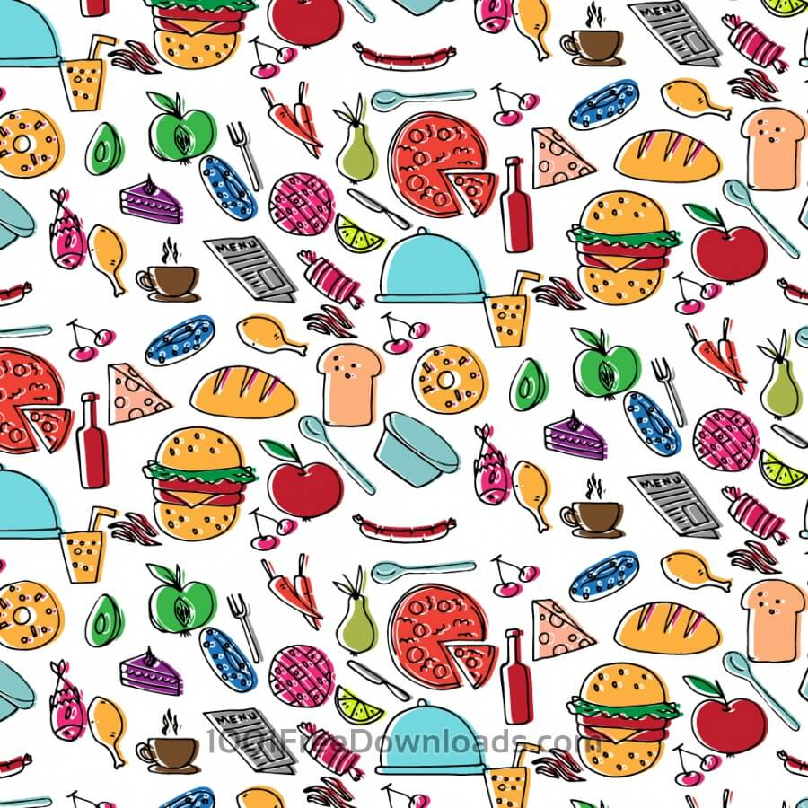 Free Doodle food pattern