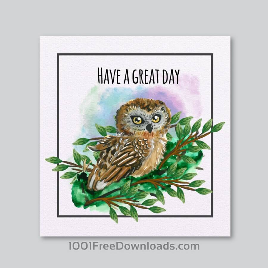 Free Watercolor owl card