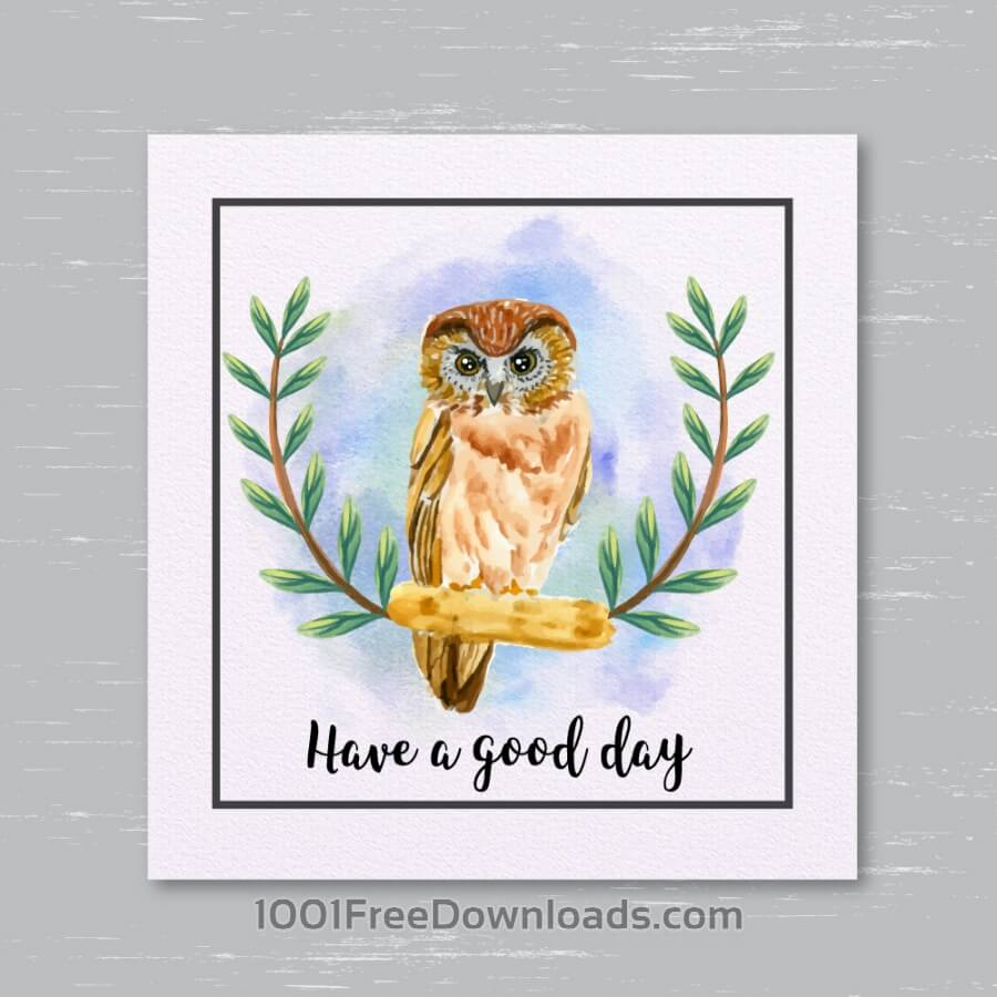 Free Vectors: Watercolor owl card | Animals
