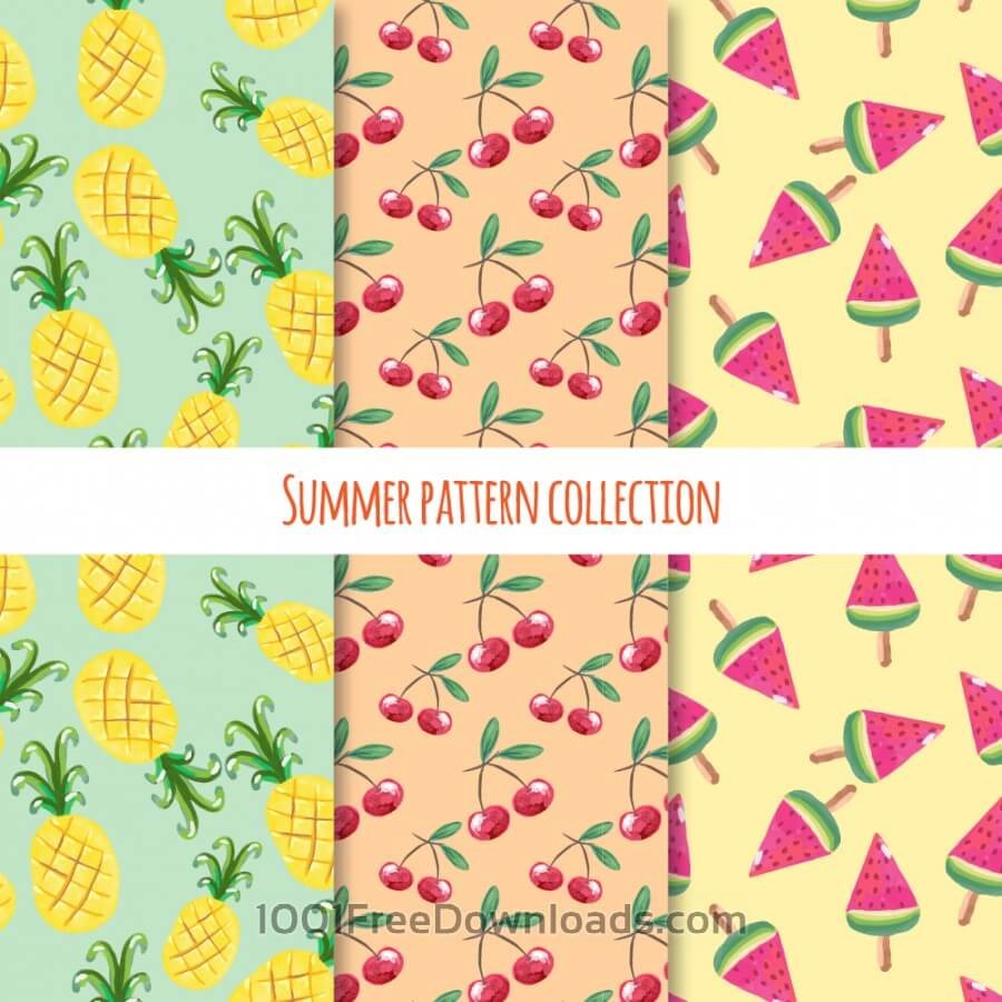 Free Summer fruits and ice cream pattern collection