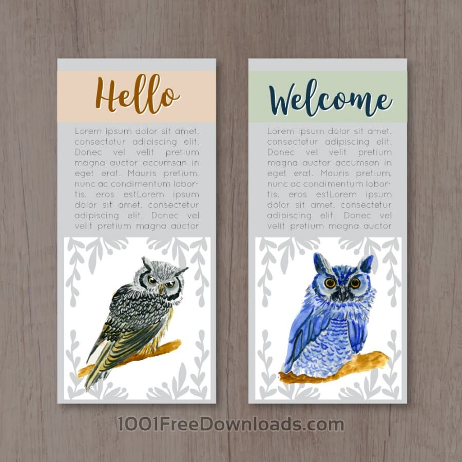 Free Watercolor owl cards
