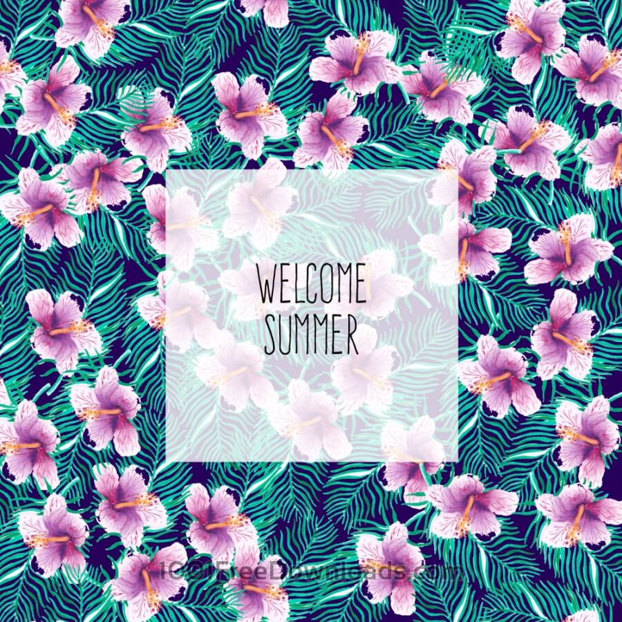 Free Tropical floral summer background