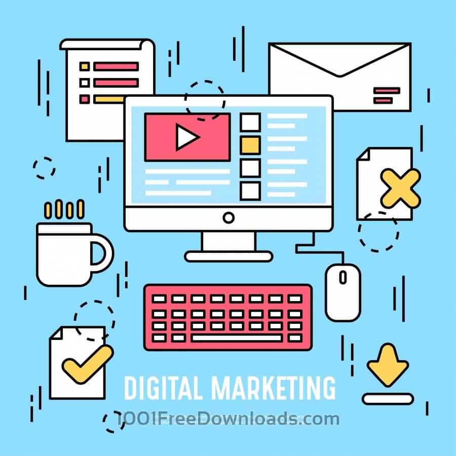 Free Vectors: Vector Digital marketing icon design | Business