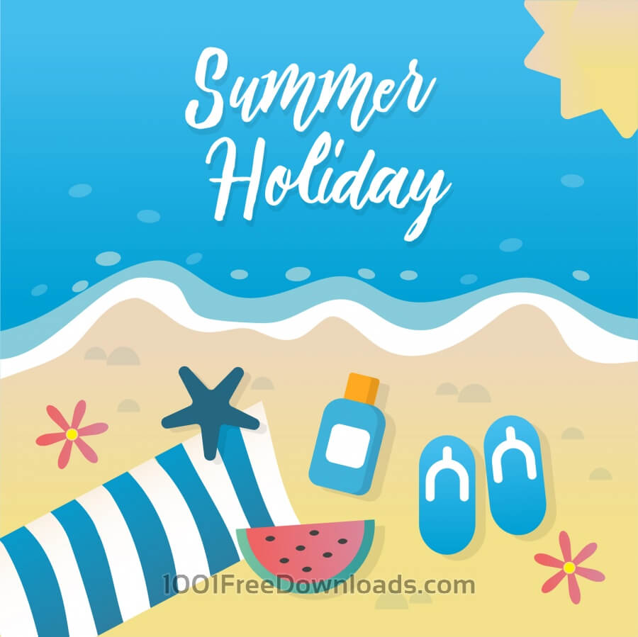 Free Vectors: Summer holiday greeting card design | Backgrounds