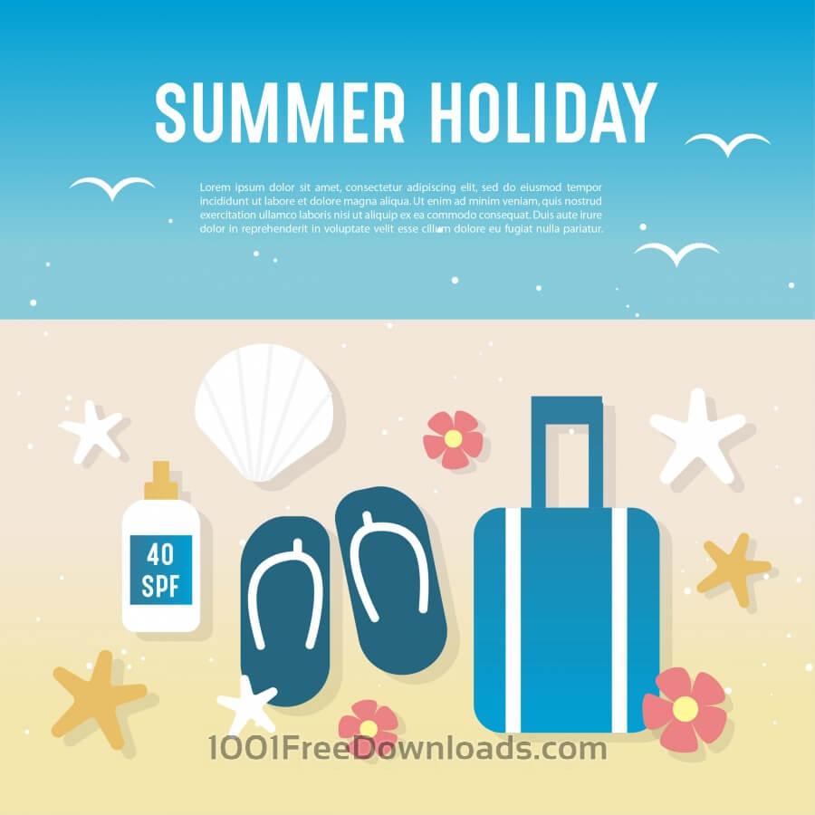 Beautiful summer landscape illustration with elements