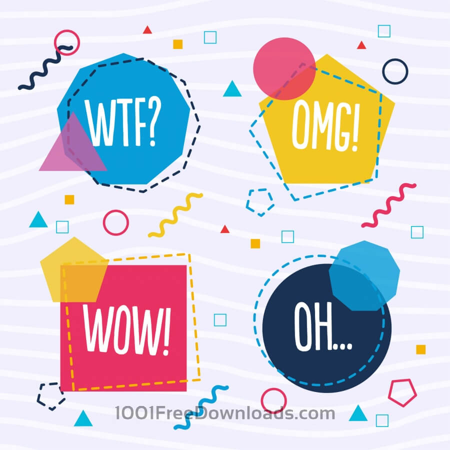 Free Geometrical vector speech bubble shapes