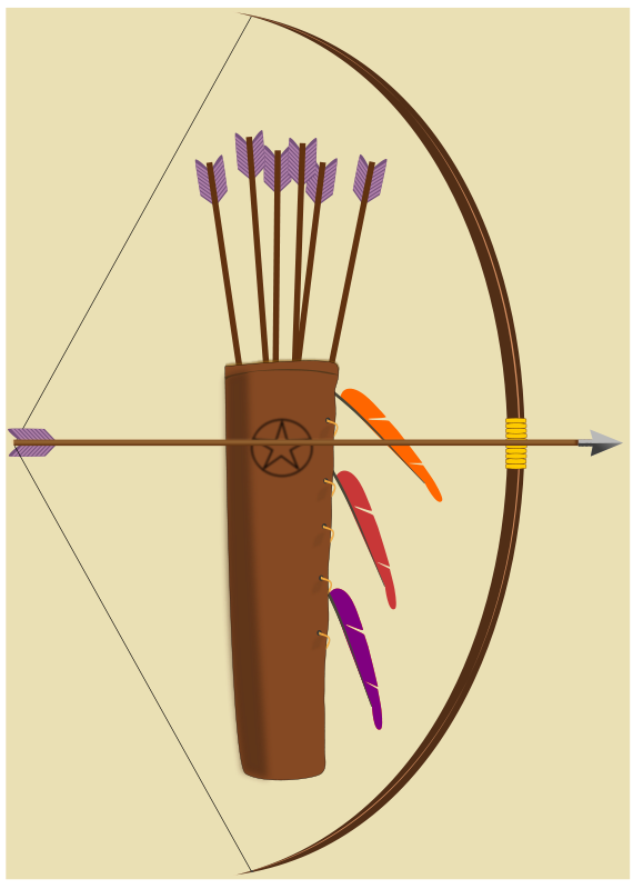 Free Clipart: Bow, arrow and quiver | pauthonic