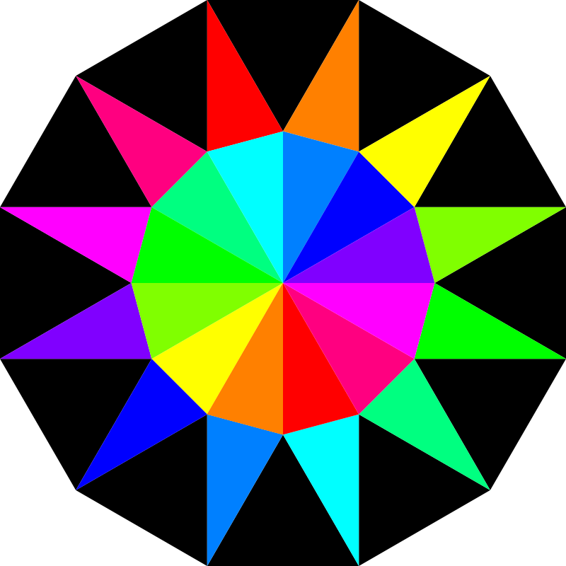 Free Clipart: Rainbow dodecagram | 10binary