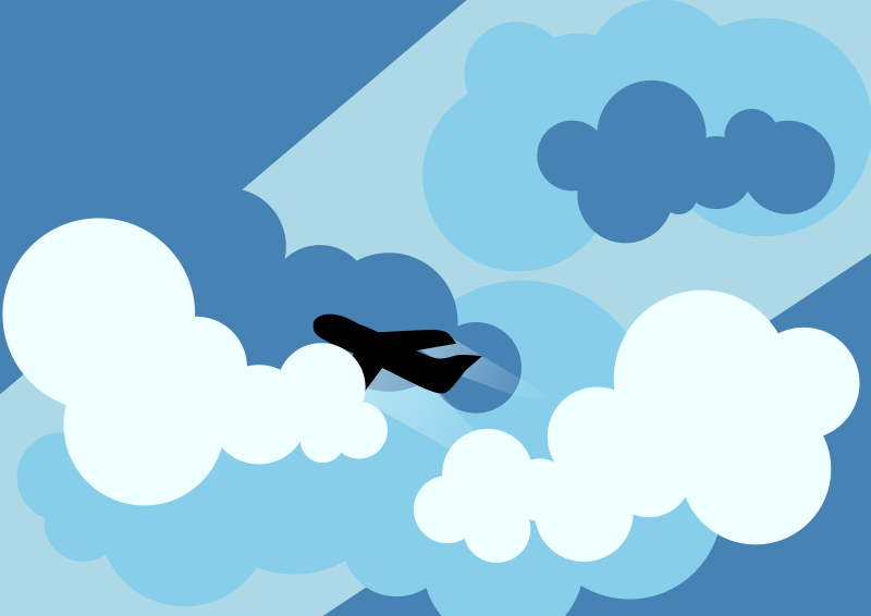 Free Plane silhouette flying through clouds