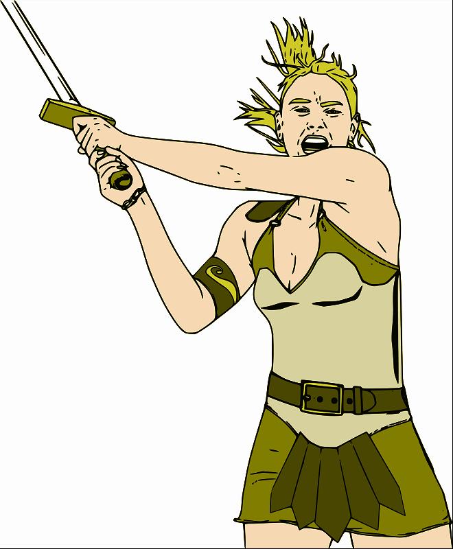 Free Clipart: Female Warrior - Color   jpneok
