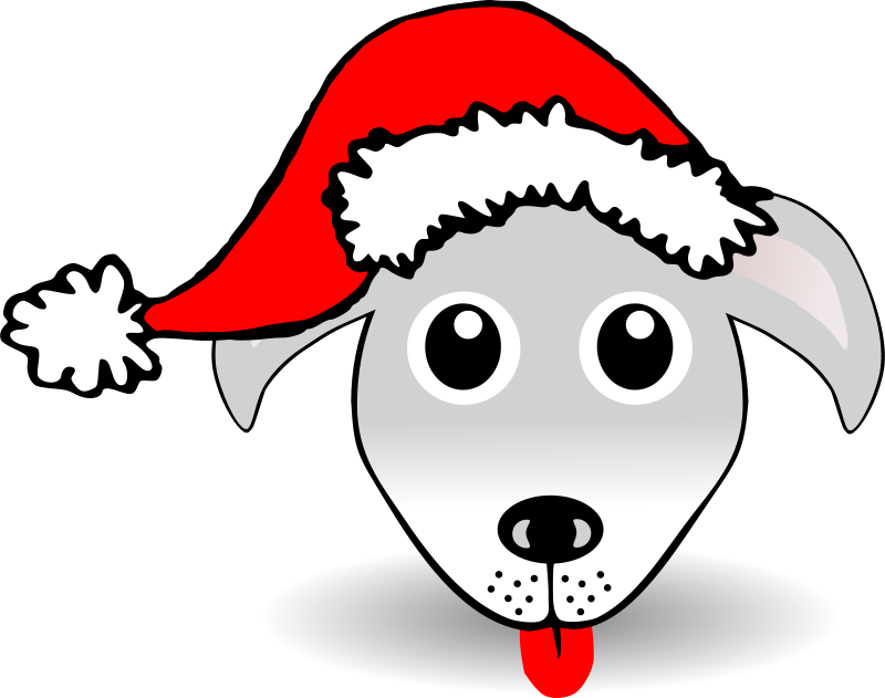 Free Clipart: Funny Dog Face Grey Cartoon with Santa Claus hat | palomaironique