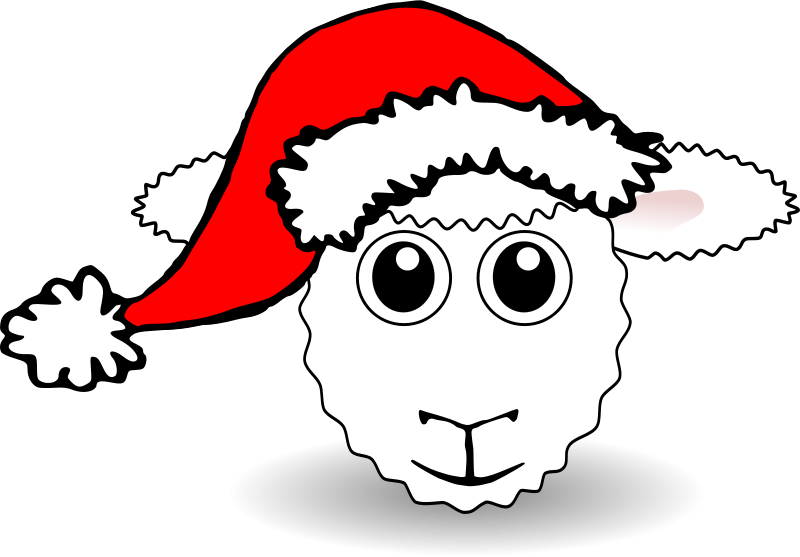Free Funny Sheep Face White Cartoon with Santa Claus hat