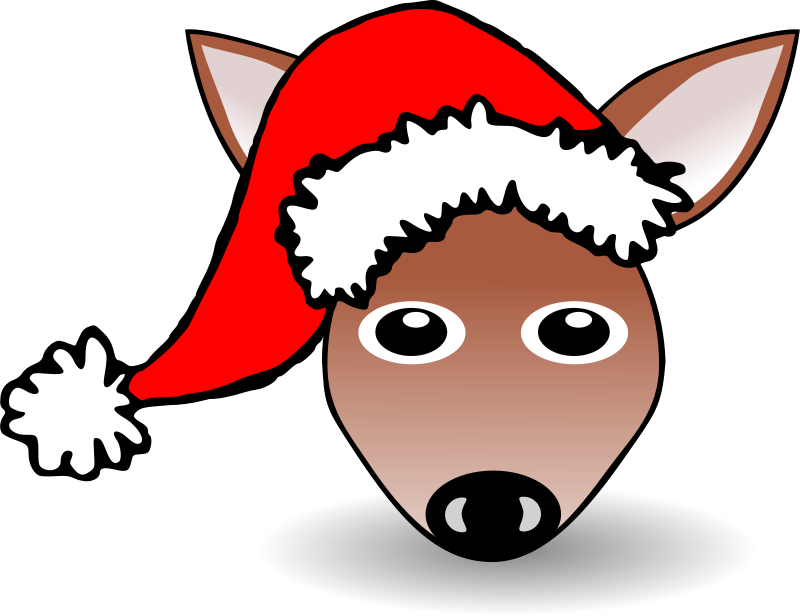 Free Funny Fawn Face Brown Cartoon with Santa Claus hat