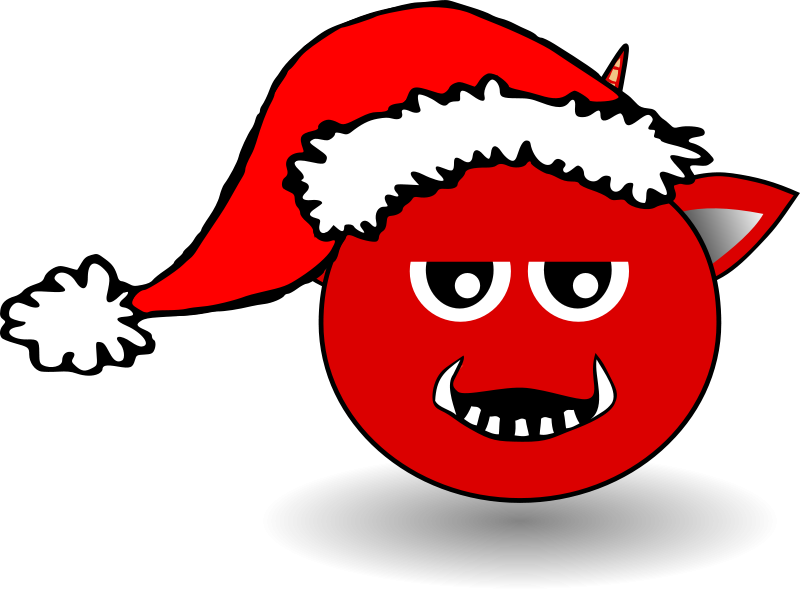 Free Little Red Devil Head Cartoon with Santa Claus hat