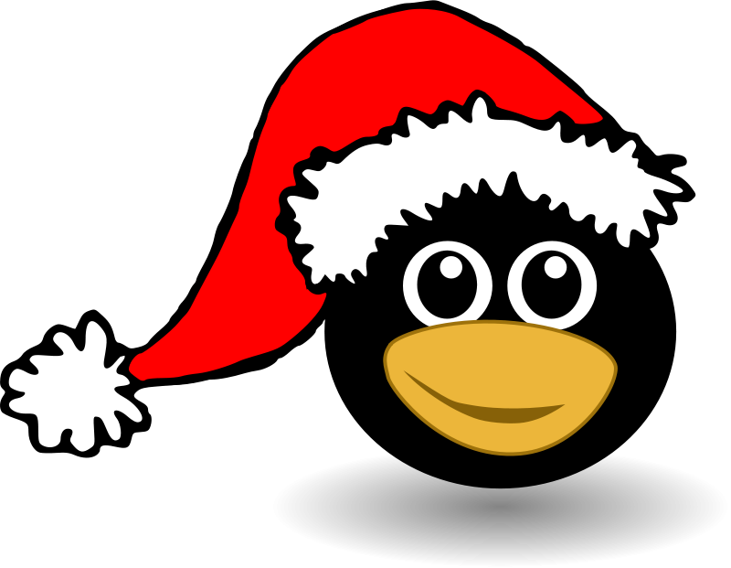 Free Clipart: Funny tux face with Santa Claus hat | palomaironique