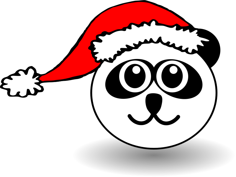 Free Funny panda face black and white with Santa Claus hat