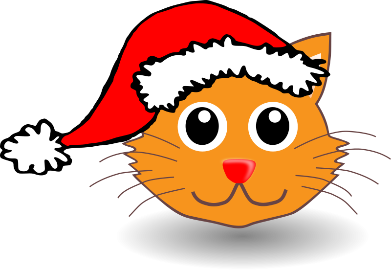 Free Funny kitty face with Santa Claus hat