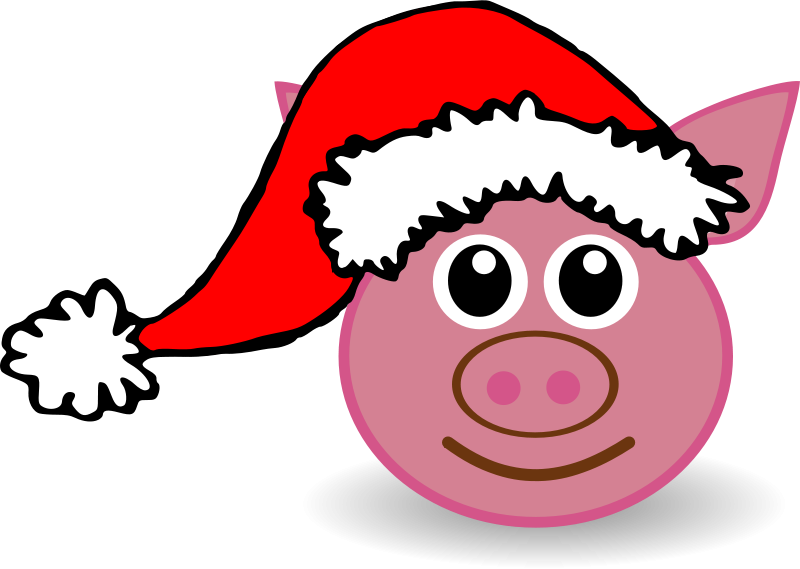 Free Funny piggy face with Santa Claus hat