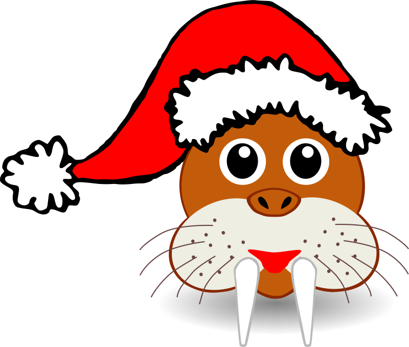 Free Funny walrus face with Santa Claus hat