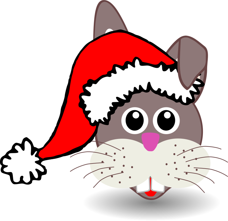Free Funny bunny face with Santa Claus hat