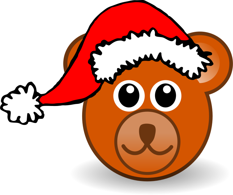 Free Clipart: Funny teddy bear face brown with Santa Claus hat | palomaironique