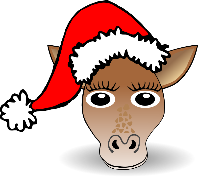 Free Funny Giraffe Face Cartoon with Santa Claus hat