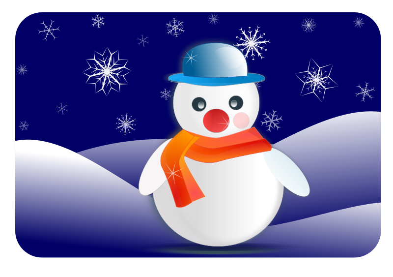 Free snowman glossy in winter scenery