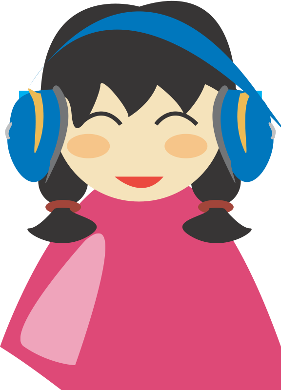 Free Cute girl with headphone