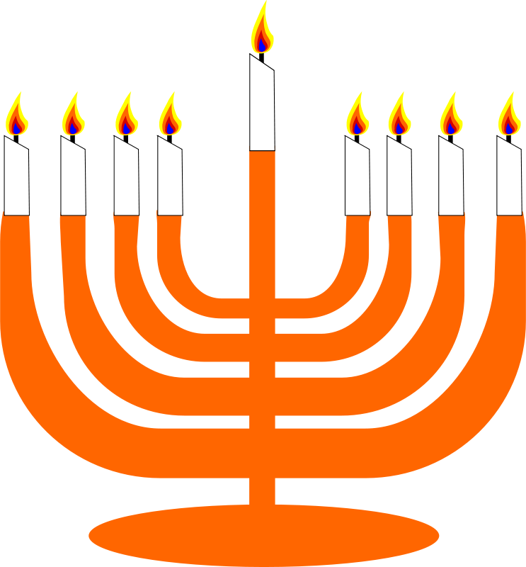 Free Simple Menorah For Hanukkah WIth Shamash