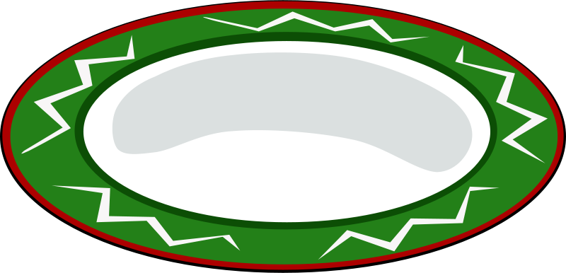 Free Plate, green with red trim