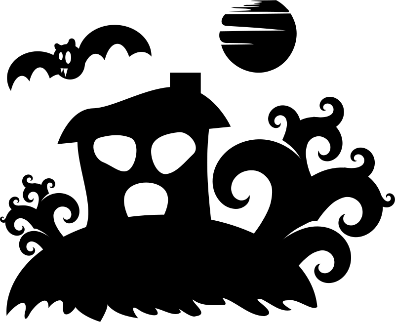 Free Halloween - spooky house silhouette