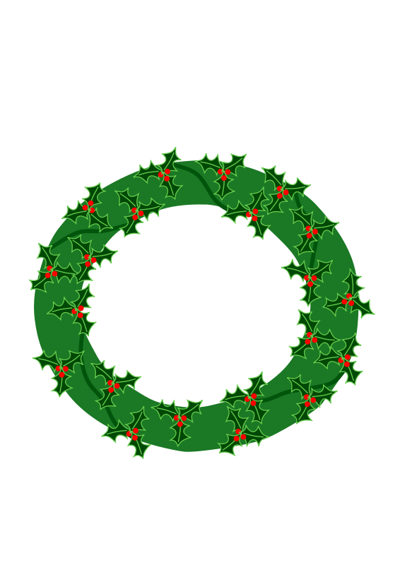 Free evergreen wreath with large holly 01