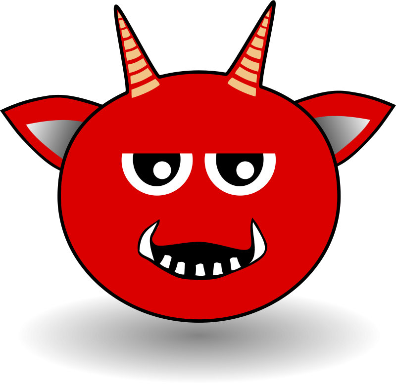 Free Little Red Devil Head Cartoon