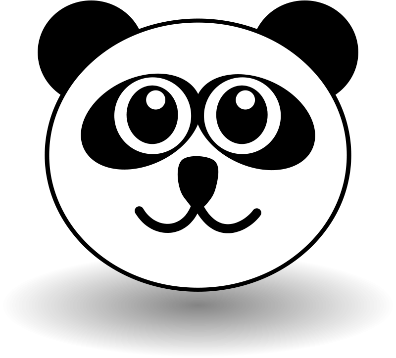 Free Funny panda face black and white