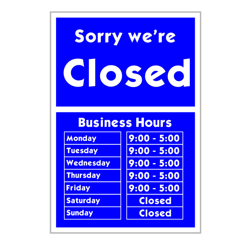 Free Sorry we're closed