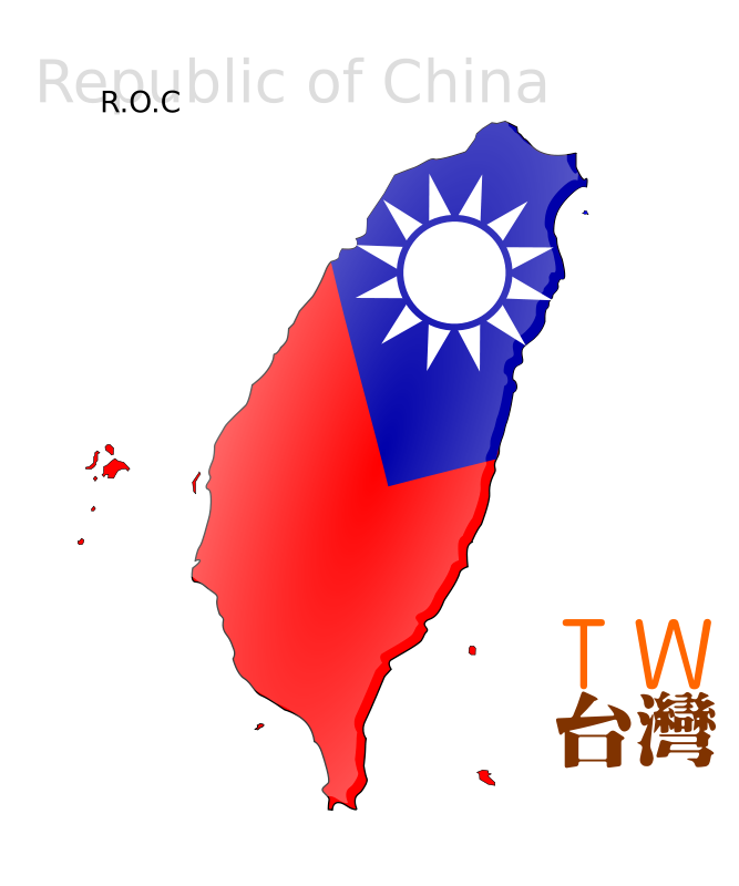 Free Map-based flag of Taiwan