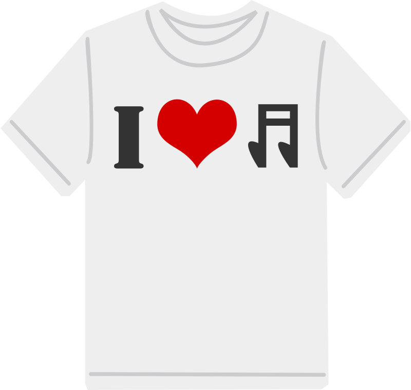 Free I Love music T-shirt