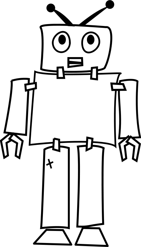 Free Robot Line Art