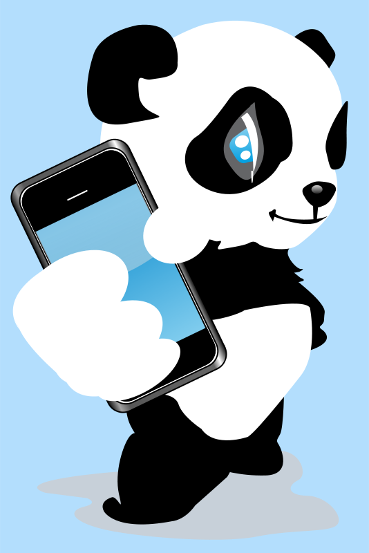 Free Panda with mobile phone