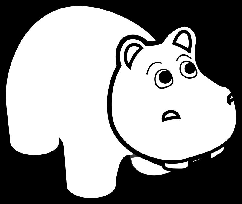 Free Hippo Line Art