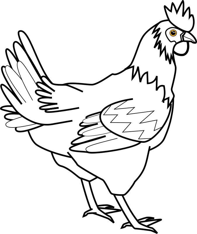 Free chicken line art davidone Chicken
