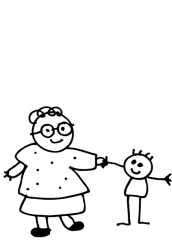 Free Mom holding childs hand - outline