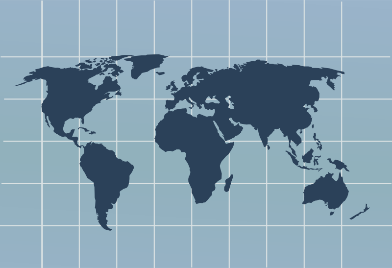 Free world map with grid