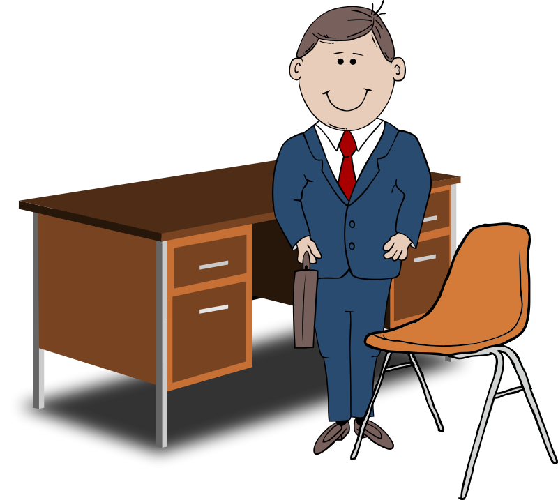 Free Clipart: Teacher / Manager between chair and desk | palomaironique