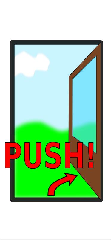 """Free Sign """"Push the door"""""""