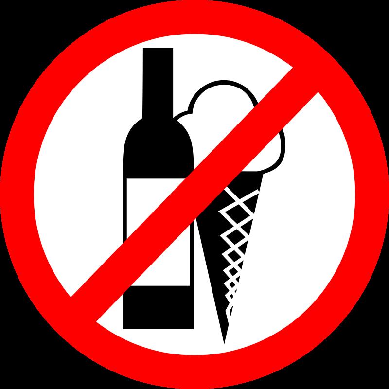 "Free Sign ""No Drinks, No Ice Cream"""